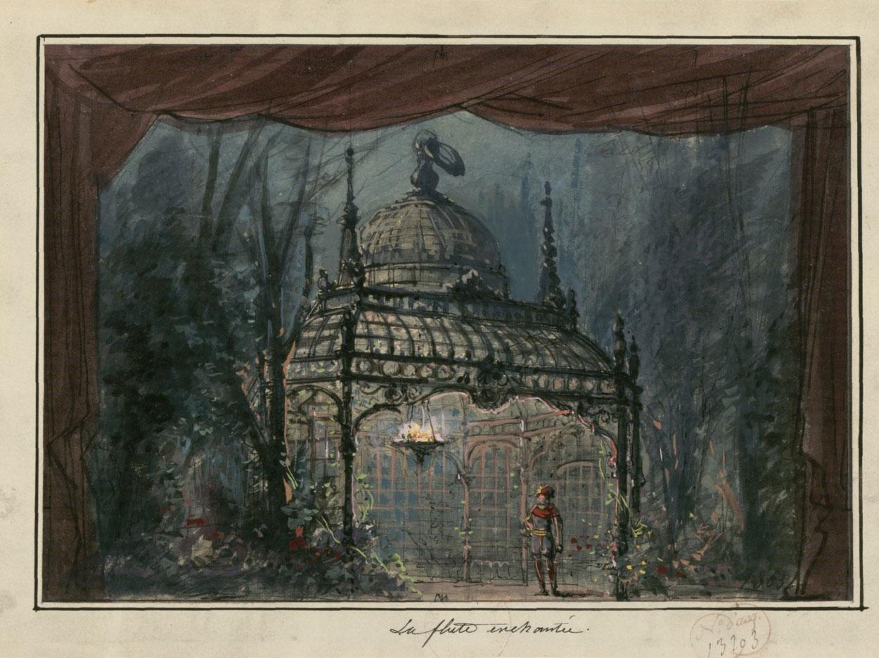 La flûte enchantée : esquisse de décor de l'acte II, tableau 1 / Philippe Chaperon © Gallica - BnF