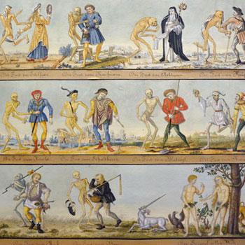 Danse Macabre de Bâle, Aquarelle par Johann Rudolf Feyerabend 1806  © Musée historique de Bâle HMB