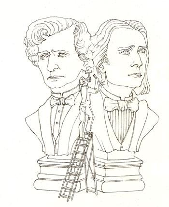 Illustration Les grandes figures: Liszt et Berlioz © Julie Scobeltzine