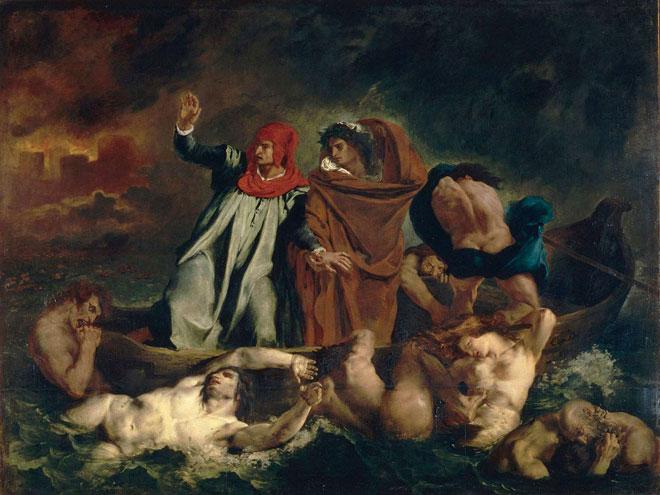La Barque de Dante ou Dante et Virgile aux enfers, par Eugène Delacroix © Musée du Louvre