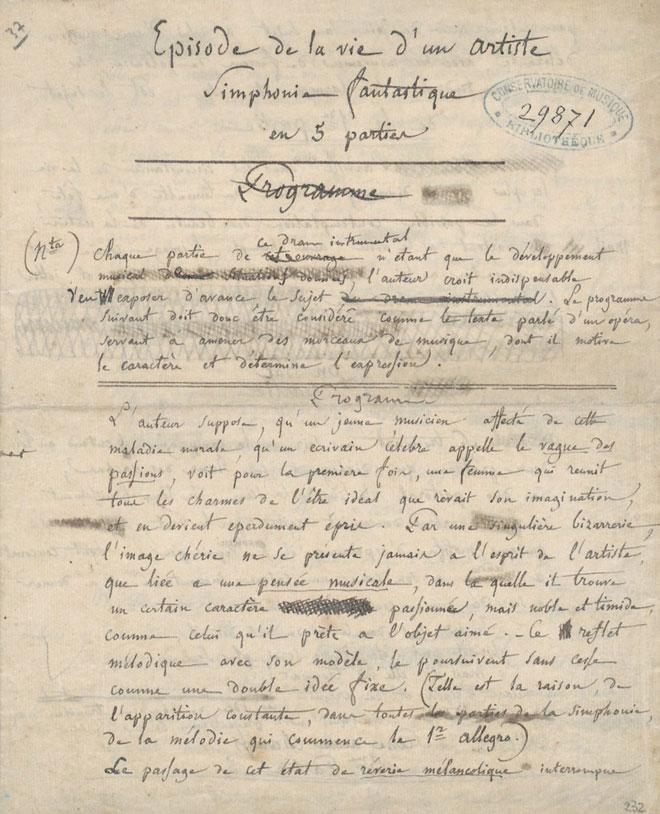 Programme autographe de la Symphonie fantastique © Gallica-BnF