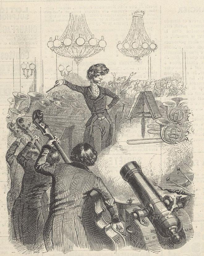 Un concert à mitraille et Berlioz, d'après un dessin de Grandville © Gallica-BnF