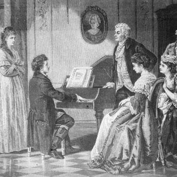 Beethoven devant Mozart et l'élite de la société viennoise © Österreichische Nationalbibliothek