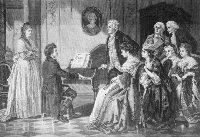 Première apparition de Beethoven devant Mozart et l'élite de la société viennoise, xylographie de Richard Brend'amour d'après le tableau d'August Brockmann. Österreichische Nationalbibliothek