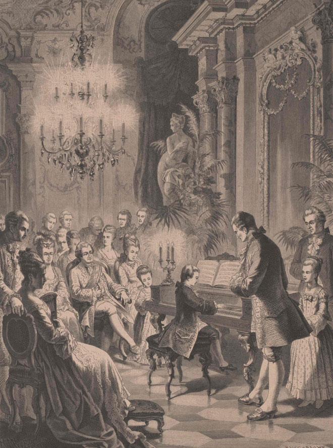 Mozart âgé de six ans à Schönbrunn, devant l'empereur François Ier et l'impératrice Marie-Thérèse, xylographie d'après un dessin de Heinrich Merté. Österreichische Nationalbibliothek