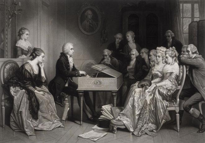 Mozart à Vienne faisant entendre des extraits de son opéra Don Giovanni pour la première fois, d'après une peinture de Edouard Hamman © Österreichische Nationalbibliothek