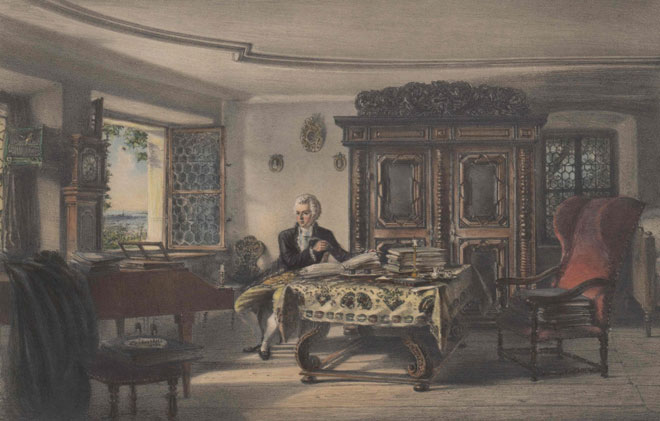 Mozart composant dans sa chambre © Österreichische Nationalbibliothek