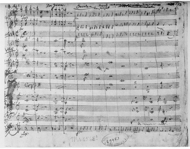 Ouverture de Don Giovanni, manuscrit autographe de Mozart © Österreichische Nationalbibliothek