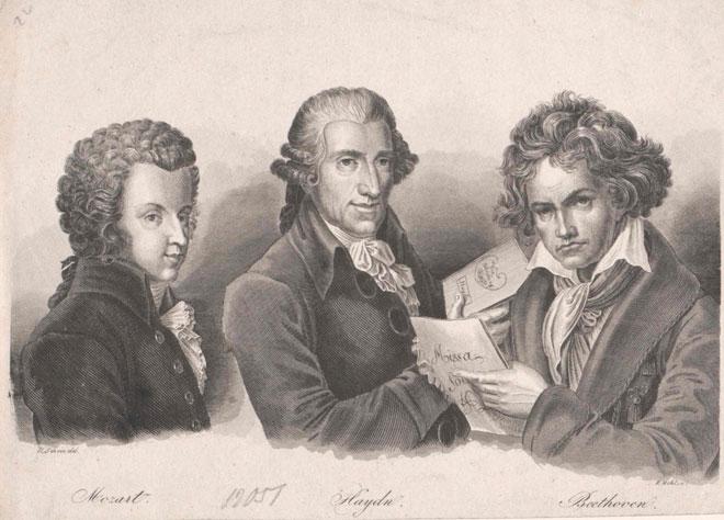 Portrait de Mozart, Haydn et Beethoven © Österreichische Nationalbibliothek