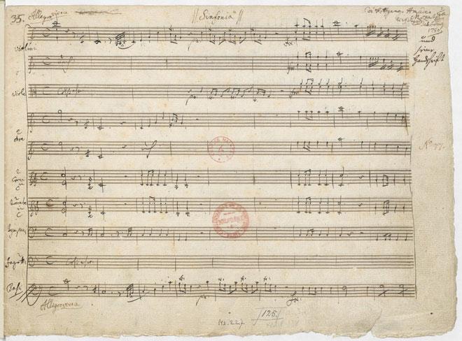 Allegro vivace de la Symphonie n°34, manuscrit autographe de Mozart, 1780. Gallica-BnF