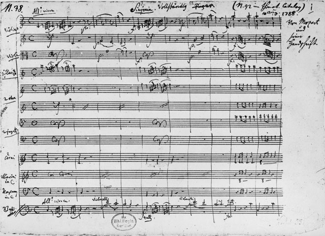 Symphonie n°41, manuscrit autographe de Mozart © Österreichische Nationalbibliothek