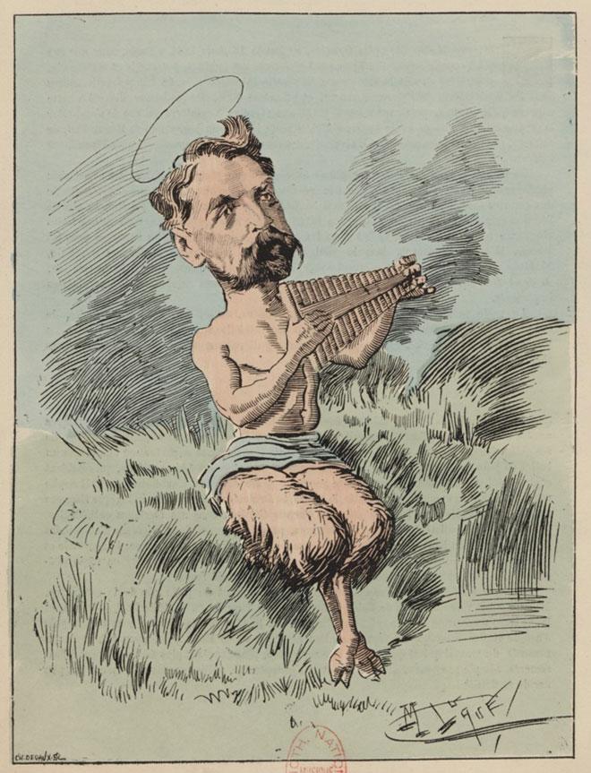 Caricature représentant Stéphane Mallarmé sous les traits du dieu Pan, dessin de Luque © Gallica-BnF