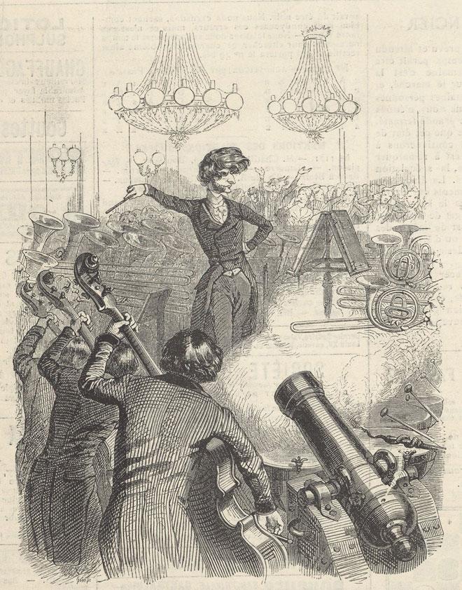 Un concert à mitraille et Berlioz (d'après une caricature de Grandville) © Gallica-BnF