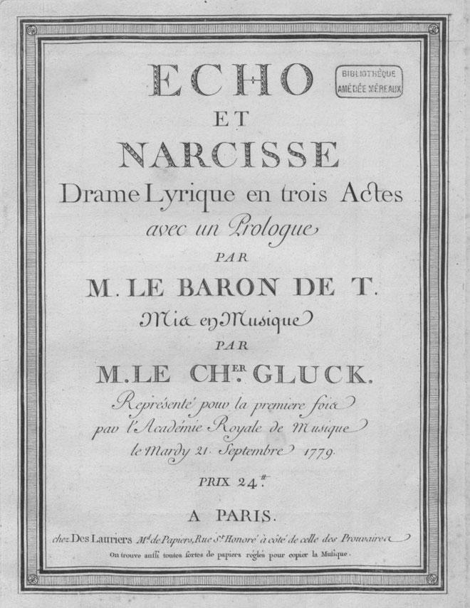 Affiche de présentation de Écho et Narcisse pour sa première représentation en 1779 © Gallica-BnF