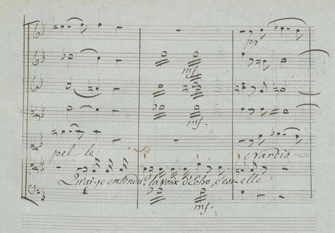Tremolos accompagnant les paroles de Narcisse lorsqu'il découvre Écho, partition autographe de Gluck © Gallica-BnF