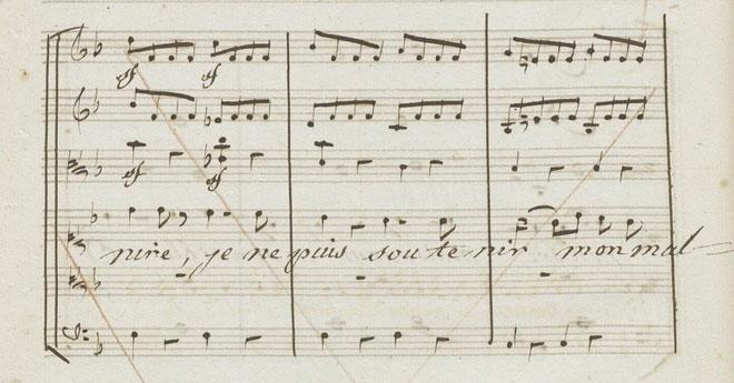 Sforzandos sur les paroles «je ne puis soutenir mon malheur», partition autographe de Gluck © Gallica-BnF
