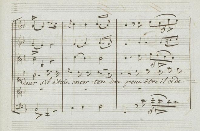 Decrescendos sur les mots «ardeur» et «céderait», partition autographe de Gluck © Gallica-BnF