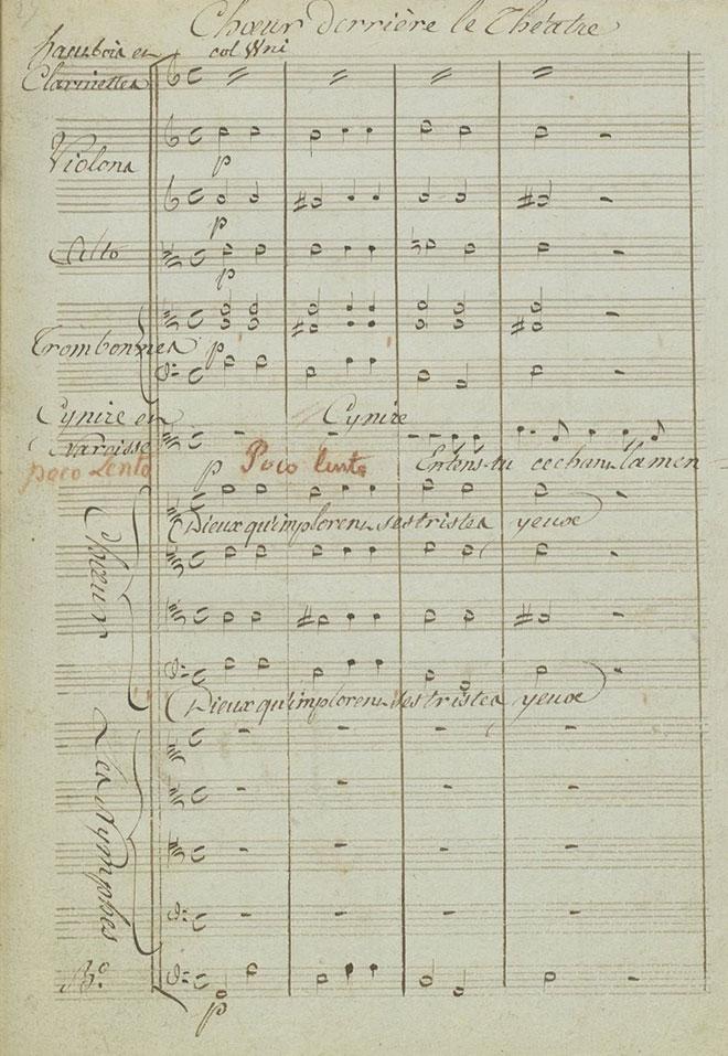 Chœur accompagné des trombones, partition autographe de Gluck © Gallica-BnF