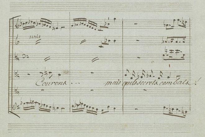 Descente rapide de doubles croches sur le mot «courons», partition autographe de Gluck © Gallica-BnF
