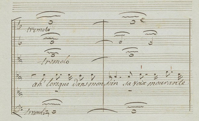 Tremolos sur les paroles « sa voix mourante », partition autographe de Gluck © Gallica-BnF