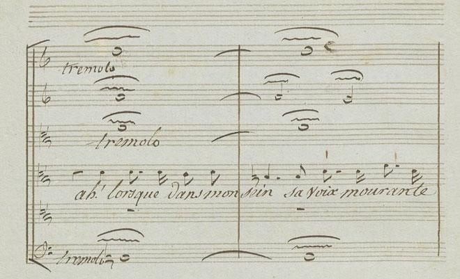 Tremolos sur les paroles «sa voix mourante», partition autographe de Gluck © Gallica-BnF