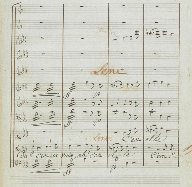 Réponses d'Écho à Narcisse, partition autographe de Gluck © Gallica-BnF