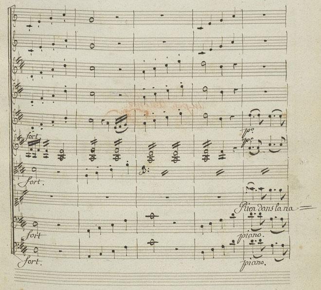 Quatre notes ascendantes figurant les flèches de l'Amour, partition autographe de Gluck © Gallica-BnF