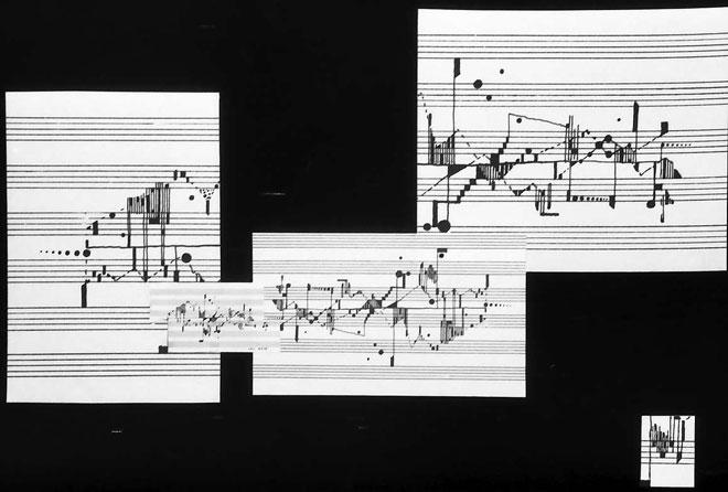 Partition graphique d'une étude de Haubenstock-Ramati © Landesarchiv Baden-Württemberg