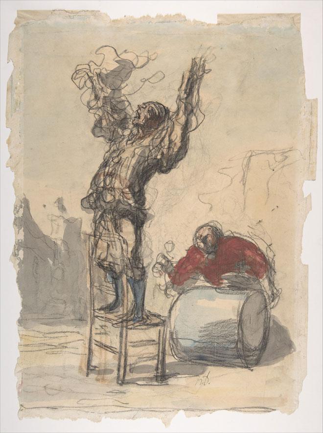 Street Show (Paillasse), dessin de Honoré Daumier. Metropolitan Museum CC0