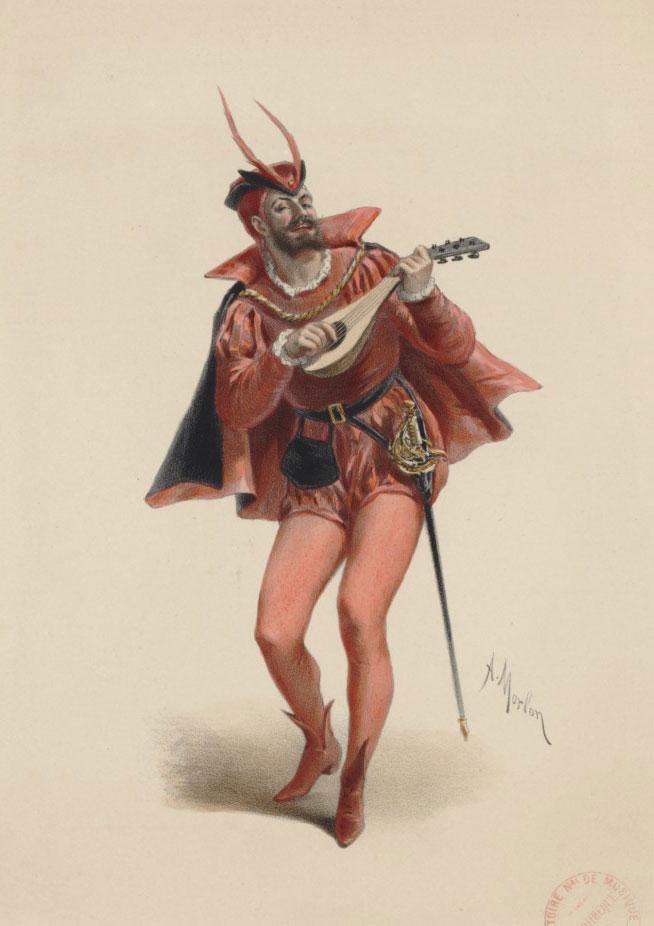 Jean-Baptiste Faure dans le rôle de Mephistopheles du Faust de Gounod, A. Morlon, lithographie © Gallica - BnF