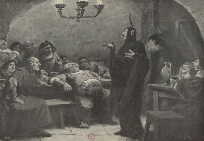 La Damnation de Faust, La Taverne d'Auerbach, dessin de Edouard Zier © Gallica - BnF