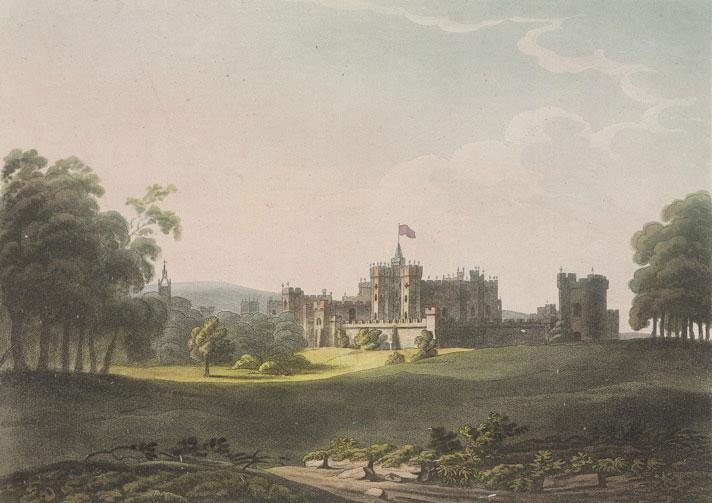 Le château d'Alnwick Northumberland, lieu de tournage des scènes d'exterieur de Poudlard © British Library