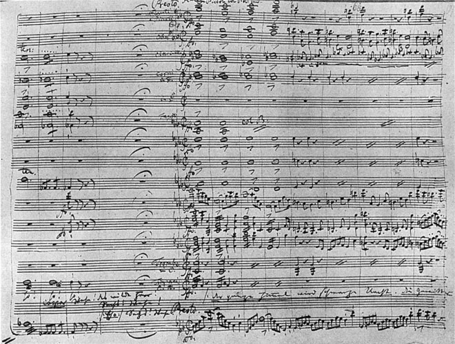 Manuscrit de la partition du Freischütz, Acte 2, scène de la gorge aux loups © Deutsche Staatsbibliothek, Berlin