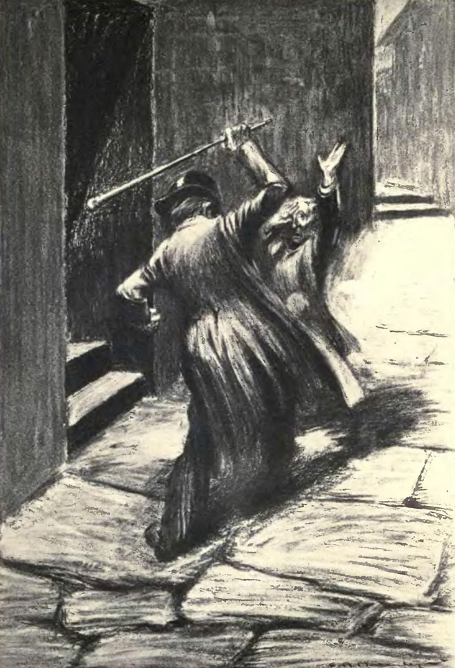 Attaque de Mr Hyde, illustration de Charles Raymond Macauley pour l'édition de 1904 © University of Toronto, Robarts Library