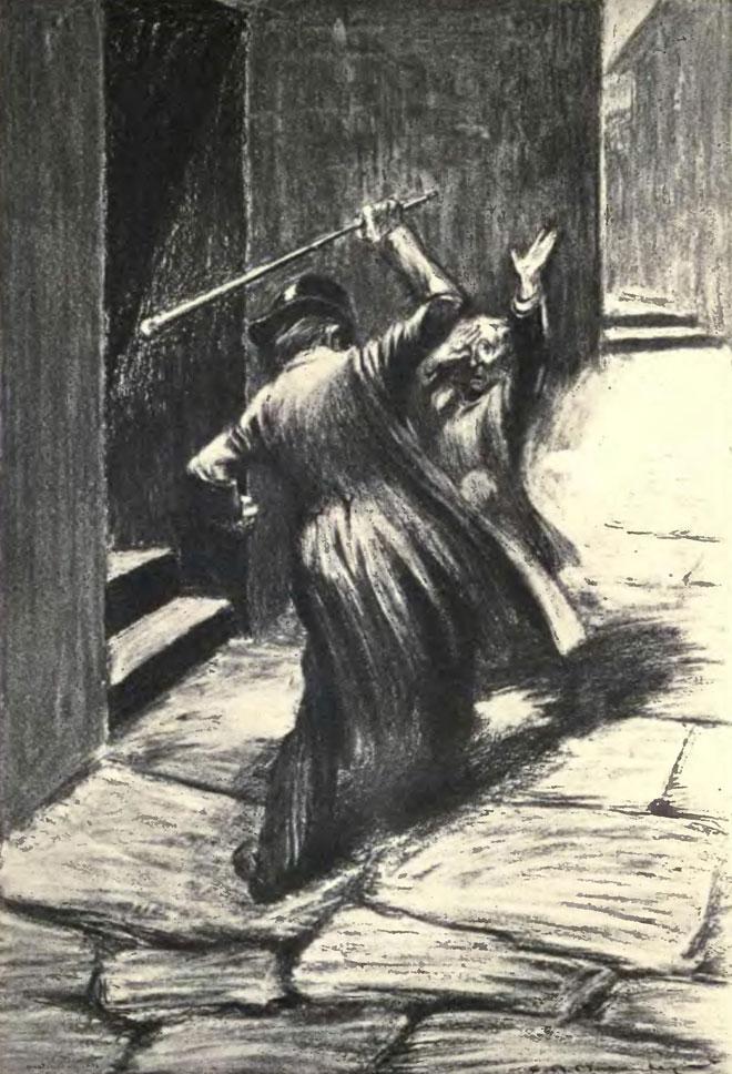 Attaque de Mr Hyde, illustration de Charles Raymond Macauley pour l'édition de 1904 © University of Toronto, Robarts Library