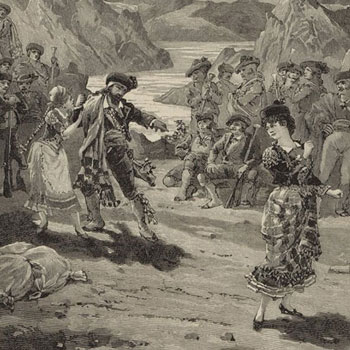 Carmen de Bizet, fin de l'acte III (gravure de Barberis, d'après un dessin de A. Bonamore) © Gallica-BnF