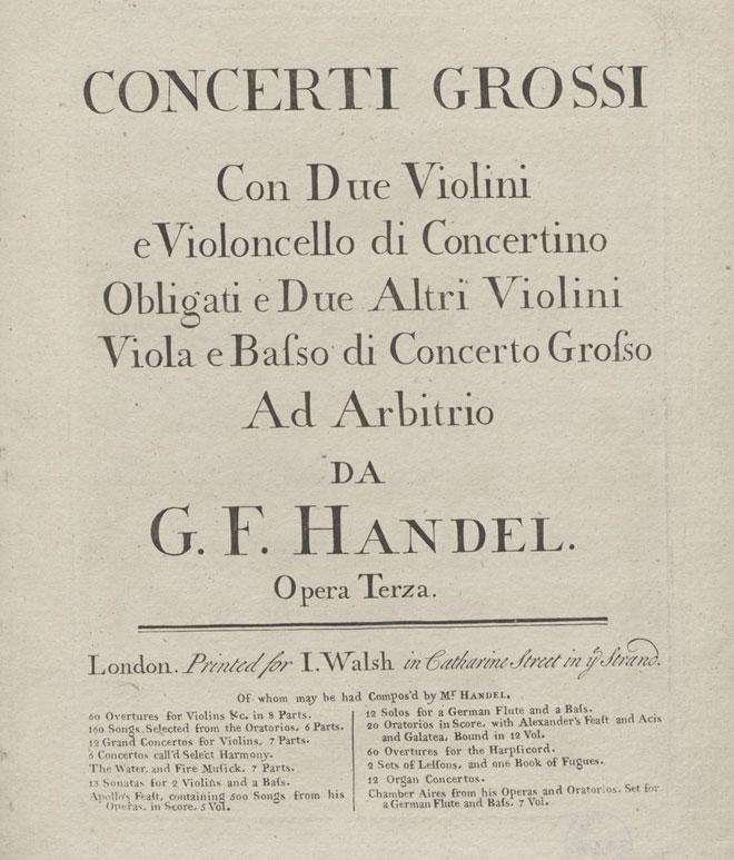 Concerto grosso op. 3, page de couverture de la partition © Stiftung Händel Haus Halle
