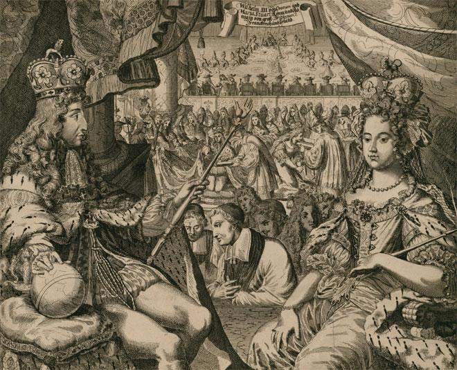 Gravure représentant les festivités organisées pour le couronnement des prince et princesse d'Orange Guillaume III et Marie II, en l'Abbaye de Westminster à Londres, le 21 avril 1689 © INHA