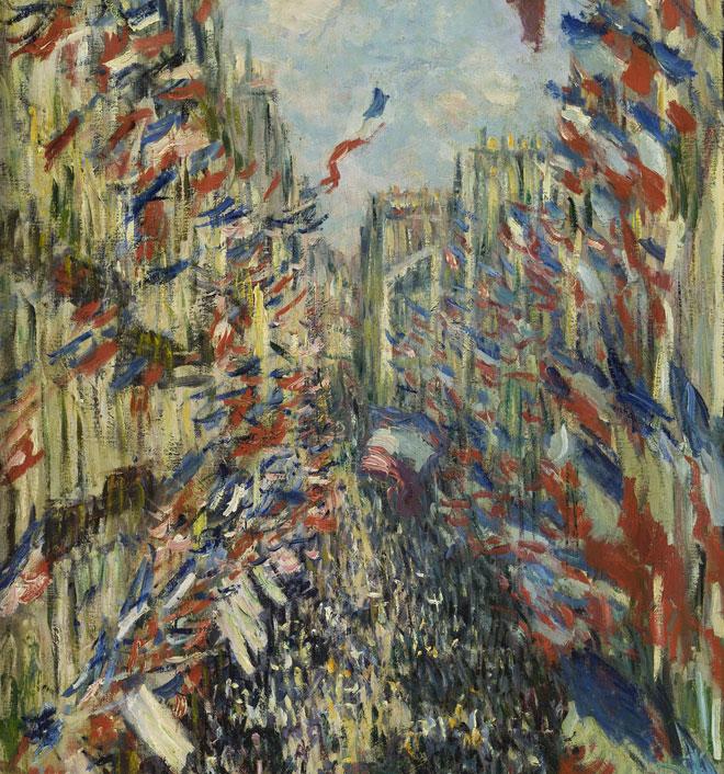 La rue Montorgueil à Paris, Fête du 30 juin 1878 (détail), par Claude Monet, 1878 © Musée d'Orsay