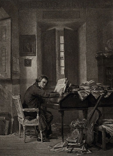 Beethoven dans son bureau © NY Public Library, digital collections
