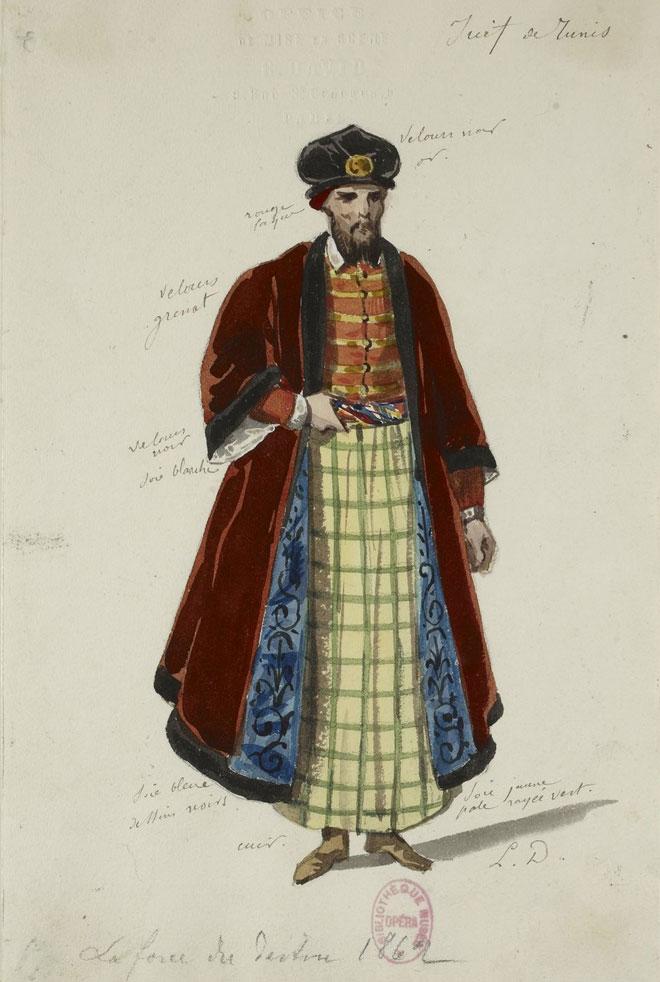 Costume pour la représentation de la Force du destin de Verdi à Saint-Petersbourg, en 1862 © Gallica - BnF