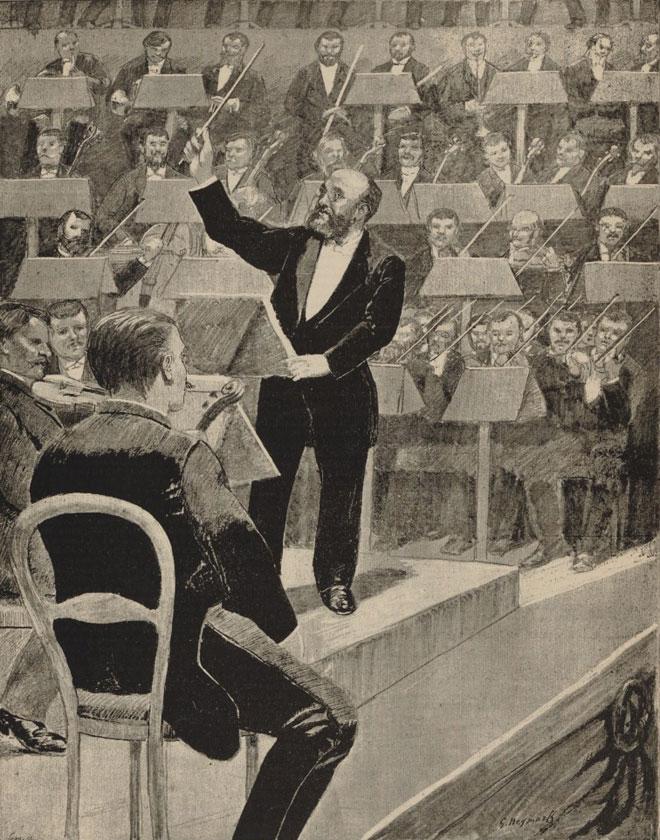 Aux concerts d'hiver, Charles Lamoureux à son pupitre de chef d'orchestre © Gallica - BnF