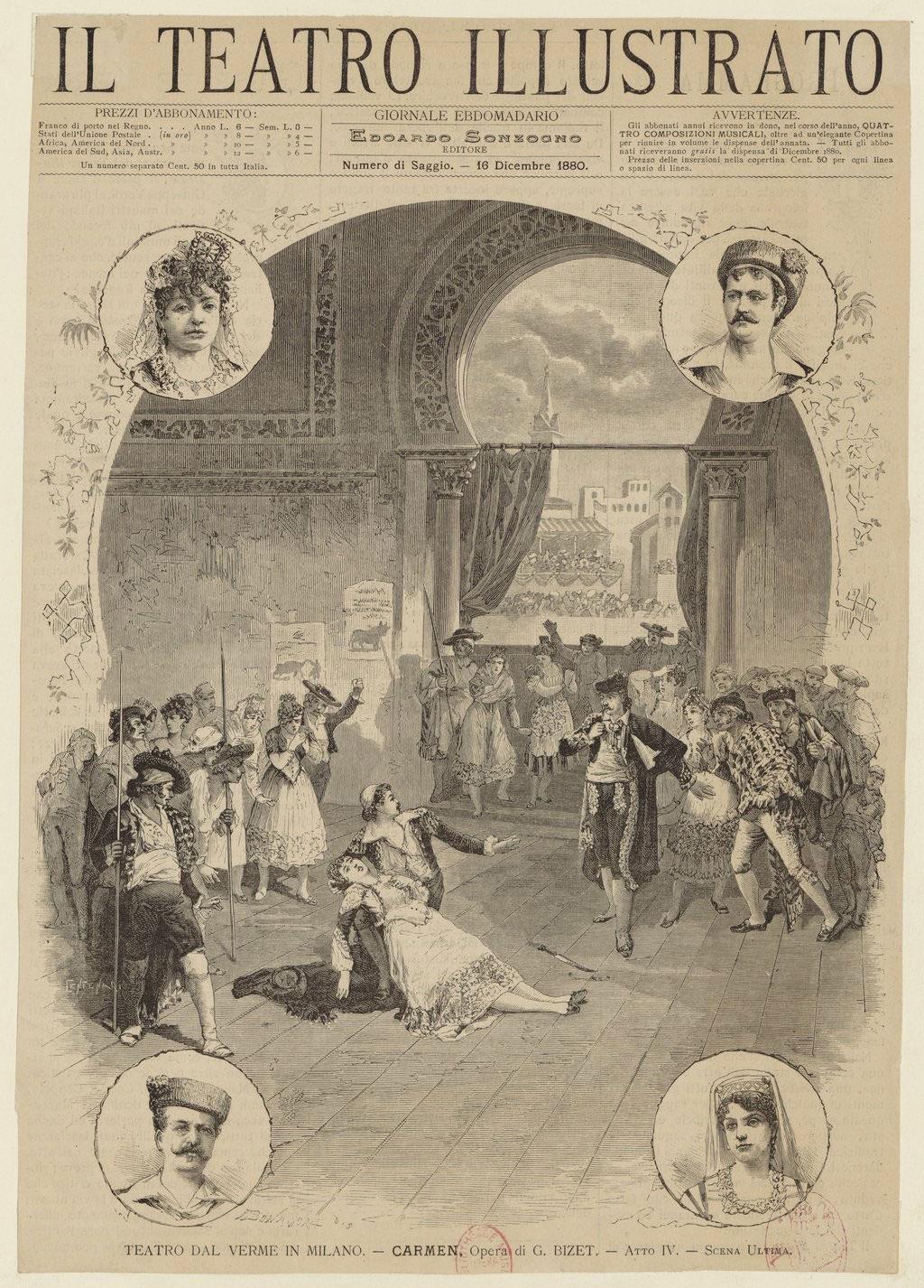 Carmen de Bizet, acte IV scène finale (estampe d'après un dessin de A. Bonamore)© Gallica-BnF