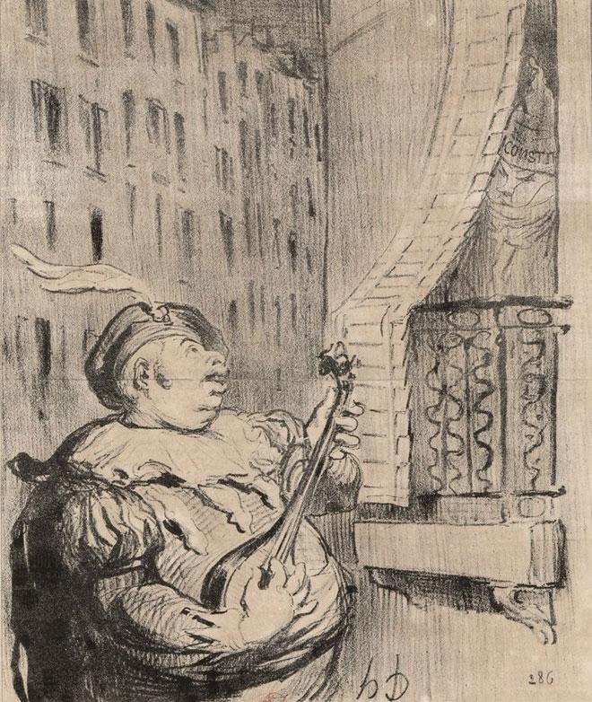 Un nouvel Almaviva venant essayer de séduire Rosine Veron en lui donnant une sérénade sur l'air de «Vive Henri V» (estampe de Honoré Daumier) © Gallica - BnF