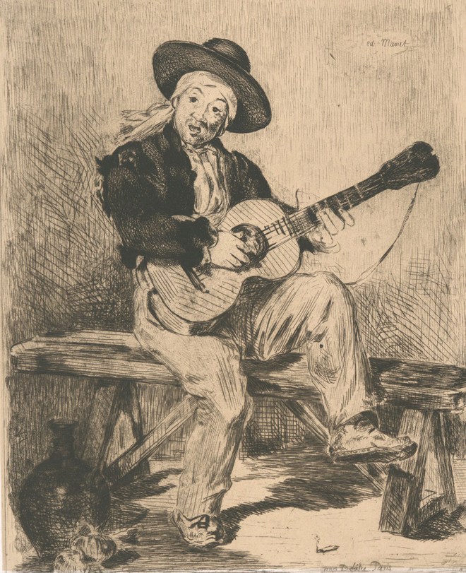 Le Guitariste de Edouard Manet © NY Public Library, digital collections