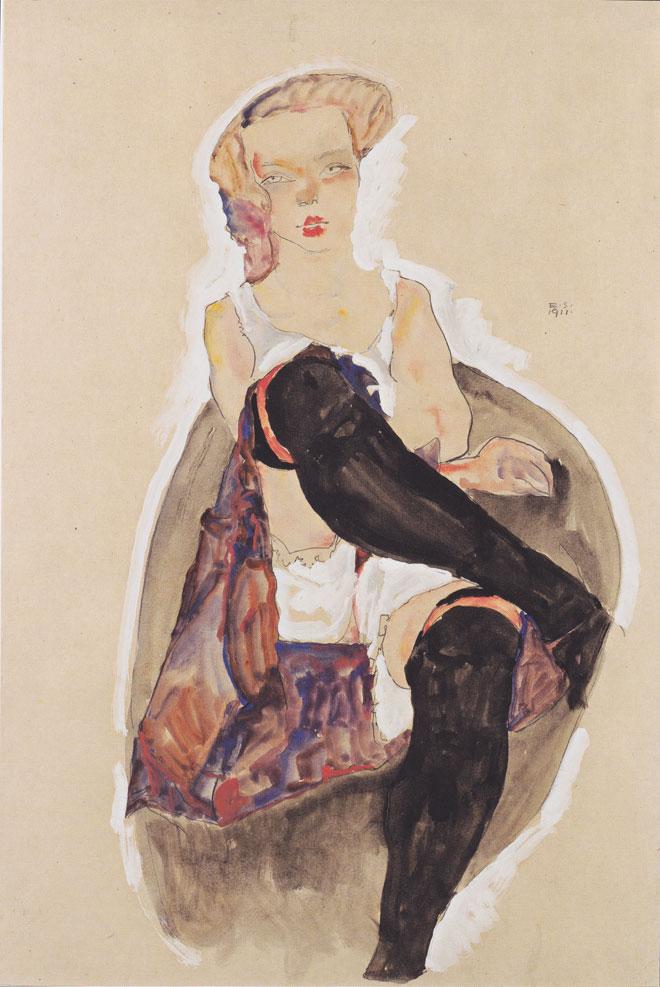 Femme de chambre avec les jambes croisées, par Egon Schiele, 1911 © Leopold Museum, Vienne
