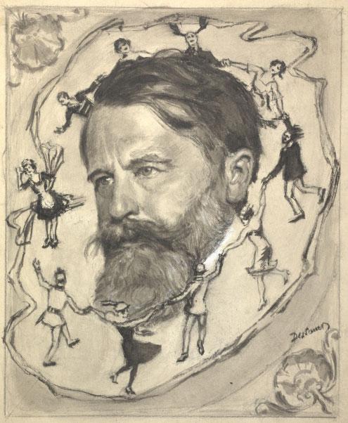 Portrait d'Arthur Schnitzler par Wilhelm Dessauer, sa tête est entourée d'une représentation de Reigen © Österreichische Nationalbibliothek
