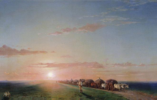 Convoi dans les steppes, par Ivan Aivazovsky © Musée du Palais Gatchina