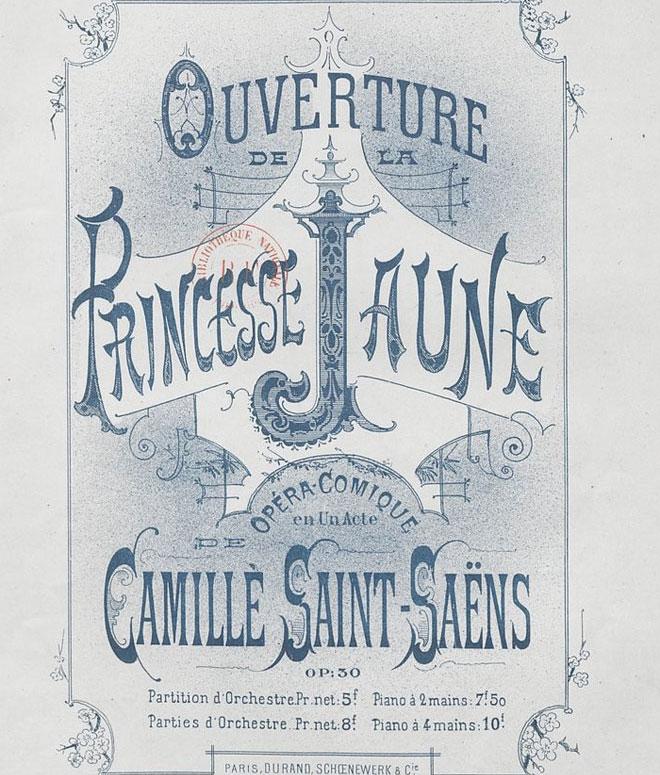 Ouverture de La Princesse jaune, page de couverture de partition © Gallica - BnF