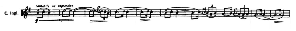 Partition dans Les Steppes de l'Asie centrale de Alexandre Borodine, deuxième thème, cor anglais
